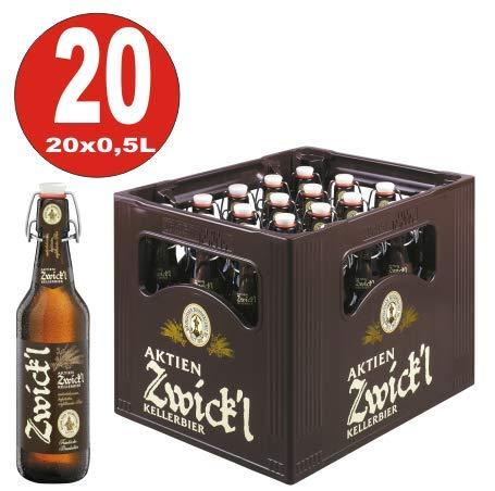 Aktien Zwickl Kellerbier 20 x 0,5 Liter 5,3% vol Originalkiste MEHRWEG