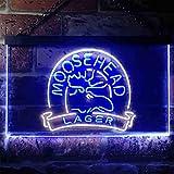 zusme Moosehead Lager Beer Neuheit LED Neon Schild White + Blue W60cm x H40cm