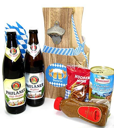 Geschenkkorb Bayern Geschenk im Flaschenträger mit Bier, Bierglas und Weißwurst | Bayrisches...
