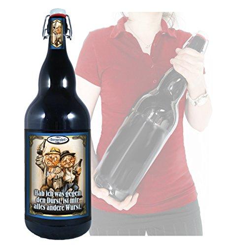 Bierpräsent - Bierweisheit: Gegen den Durst - 3 Liter XXL-Flasche Bier mit Bügelverschluss