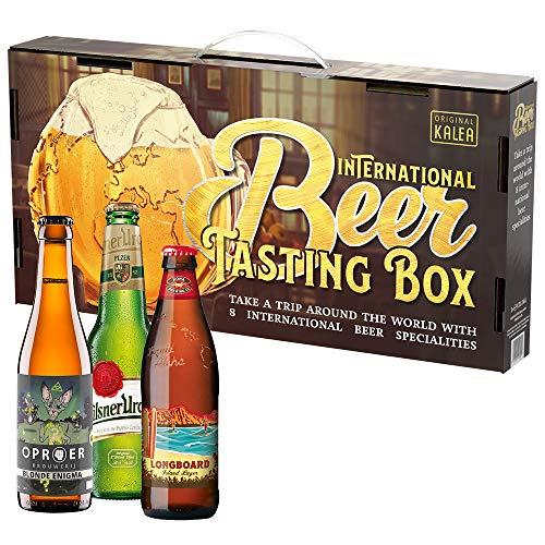 Internationale Bier-Verkostungs-Box, Bierspezialitäten aus aller Welt, 8 x 0,33 L, Biergeschenk...