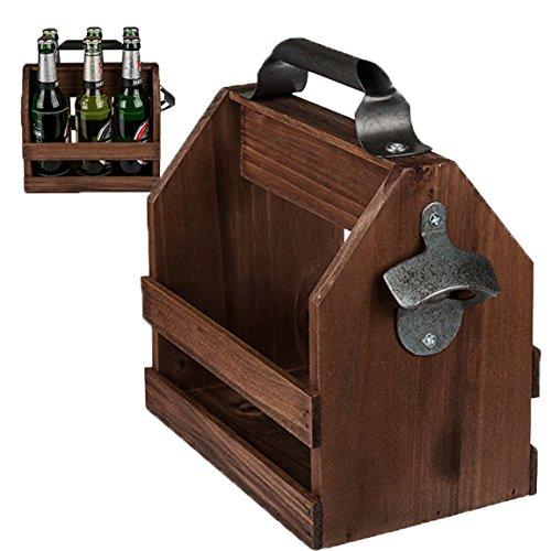 Bada Bing Flaschenhalter Holz Getränke Halter Mit Flaschenöffner Für sechs 0,33l Bier Flaschen...