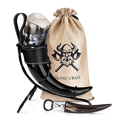 VIKING CRAFT® Trinkhorn Wikinger ca. 450ml - Extra Großes 5-teiliges Horn Set für Wikinger Met...