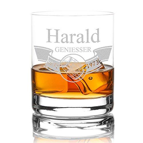 polar-effekt Whiskyglas Personalisiert 320 ml Trink-Glas für Whiskey, Rum und Scotch -...