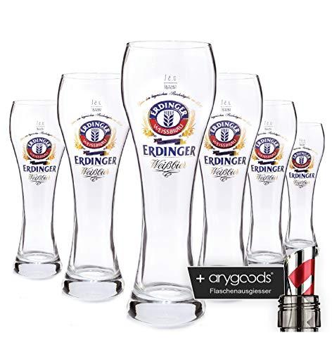 6 x Erdinger Weissbier 0,3l Glas/Gläser, Markenglas, Bierglas NEU + anygoods Flaschenausgiesser