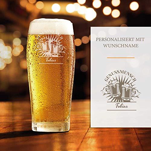 Smyla Premium Bierglas mit Gravur (Genussmensch-Design)   Geschenk-Idee   personalisiertes Bier-Glas...