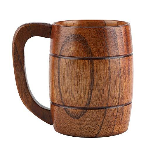Bierkrug aus Holz, Vintage Bier Kaffee Trinkbecher mit Henkel Trinkbecher Bierkrug Holzbierkrug...