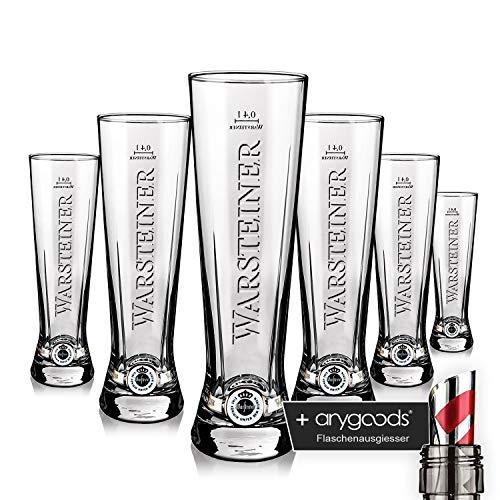 6 x Warsteiner Glas Gläser 0,4l Premium Cup Relief Gastro Bar Deko NEU + anygoods...