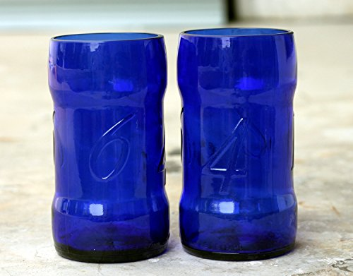 Blau/Grün Bier Flasche trinken Gläser aus A Kronenbourg/Kronenberg 1664 blau
