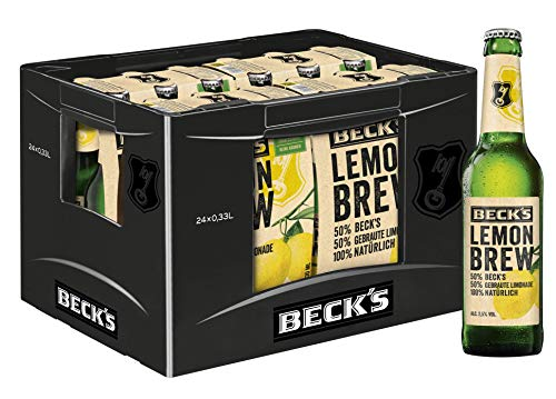 BECK'S Lemon Brew Naturradler Flaschenbier, MEHRWEG (24 x 0.33 l) im Kasten, Natur Radler / Alster