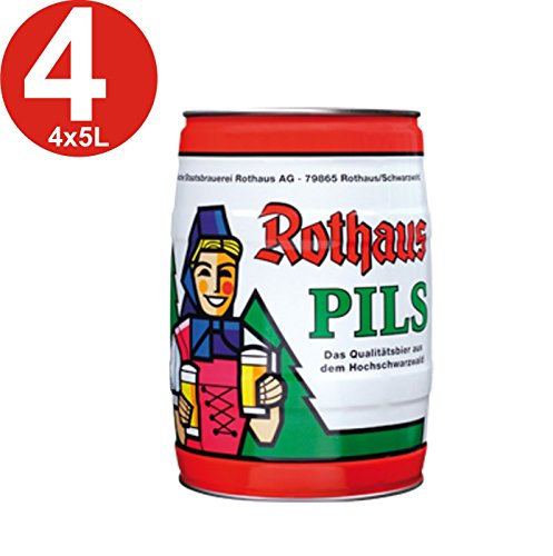 4x Rothaus Pils 5 L Partyfass 5,1% vol