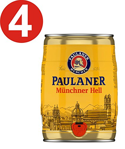 4 x Paulaner Münchner Hell 5 Liter 4,9% vol Partyfass