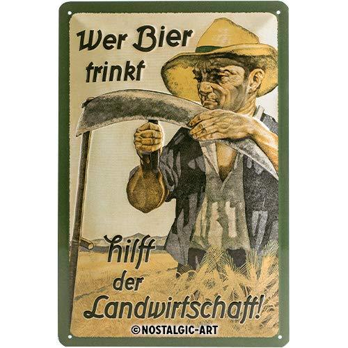 Nostalgic-Art Retro Blechschild, Wer Bier trinkt hilft der Landwirtschaft – Geschenk-Idee als...