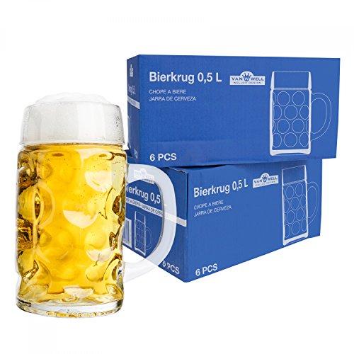 Van Well 12er Set Maßkrug 0,5L geeicht | Halber Liter Bierkrug mit Henkel | Bierglas...