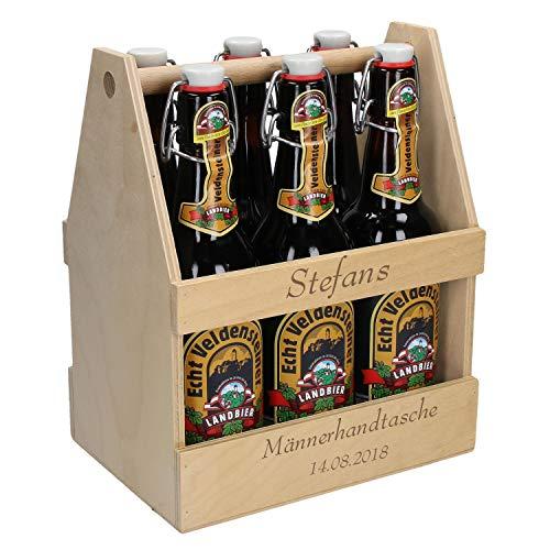Uakeii Personalisierter Bierflaschenträger aus Holz mit Gravur Sixpack Bierträger für 6 Getränke...