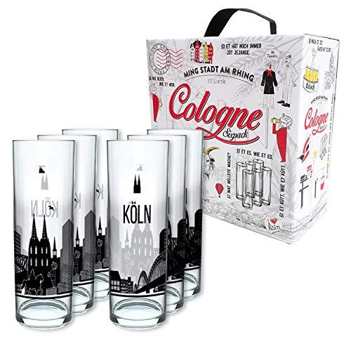 3forCologne Kölschglas 6er Pack bunt 0,2ml, Kölner Stangen mit Grundgesetz, Biergläser Gläser...