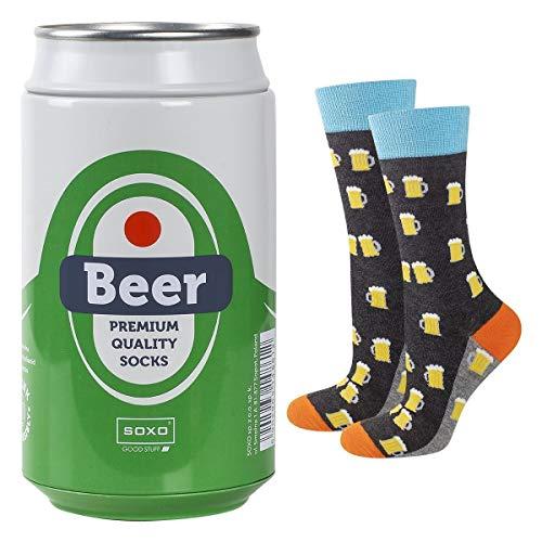 soxo lustige Herren Socken Bier Geschenkdose   Größe 40-45   Bunte Herrensocken aus Baumwolle mit...