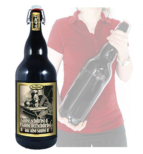 Saufst - 3 Liter XXL-Flasche Bier mit Bügelverschluss