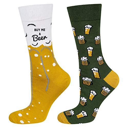 soxo Bier Socken Herren Socken Lustigen Socken Bunte Gemusterte aus Baumwolle Herrensocken mit...