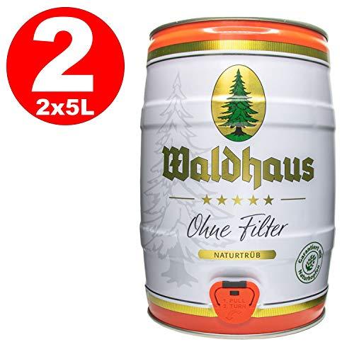 2 x Waldhaus ohne Filetr Naturtrüb 5 L Partyfass 5,6% vol. Das Männerbier