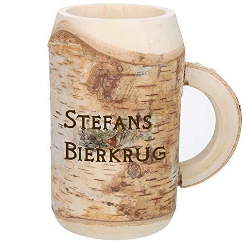Holz-Bierkrug mit Gravur Namen 0,5l, Handgefertigtes Unikat Dekoration Personalisierter Holzkrug mit...