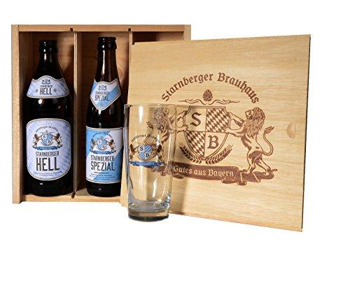 3 teilige Geschenkbox mit bayerischen Bierspezialitäten vom Starnberger Brauhaus in der Flasche...
