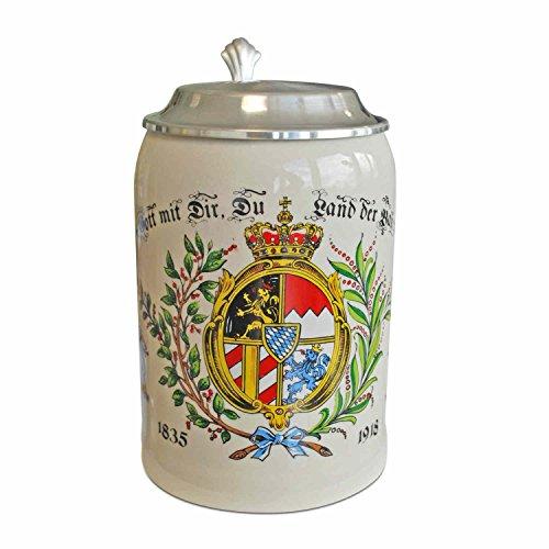 Geschenkbox Steinkrug Bierkrug Land der Bayern, Steingut, mit Zinndeckel, bunt, 0,5l Füllmenge