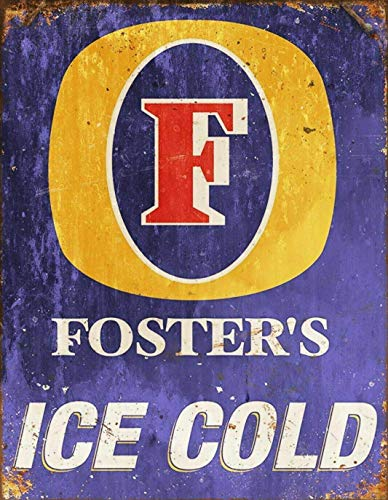 """SIGNSHM Rustikales Retro-Blechschild mit Aufschrift """"Fosters Beer Lager"""", Wanddekoration, Kunst,..."""