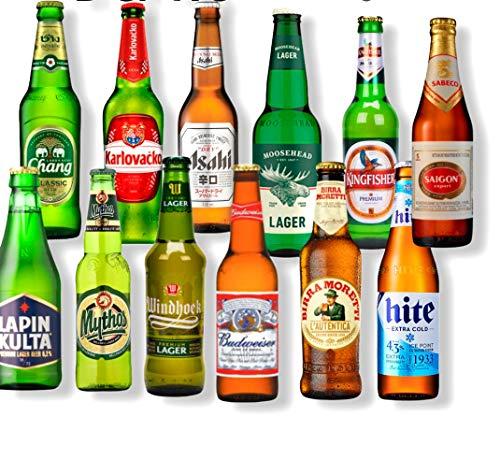 Bier Weltpaket 12 Flaschen, Bud Light, Karlovacko, Chang,Windhoek, Asahi u. mehr