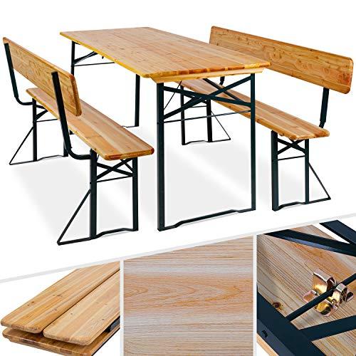 KESSER® Bierzeltgarnitur mit lehne & breiter Tisch 170x70cm | 3 teilig Gartenmöbel-Set | Klappbar...