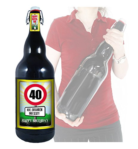 40 Jahre - Herzlichen Glückwunsch - 3 Liter XXL-Flasche Bier mit Bügelverschluss