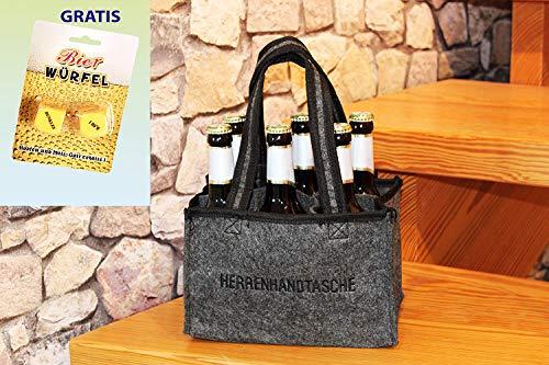 Kamaca ® HERRENHANDTASCHE für 6 Bierflaschen Flaschenträger Flaschenkorb aus Filz inklusive...