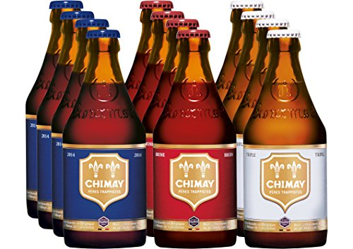 Chimay Trappist 12er Paket (je 4x Chimay Rouge + Chimay Bleue + Chimay Tripel) Bier, komplexe...