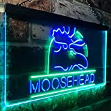 zusme Moosehead Lager Beer Man Cave Novelty LED Neon Sign Green + Blue W40cm x H30cm