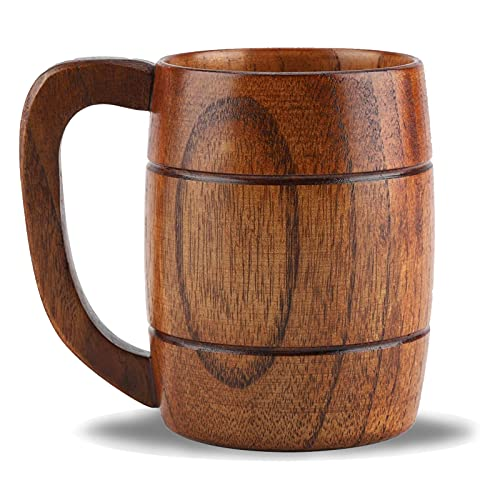 Bierkrug aus Holz, Vintage Bier Kaffee Trinkbecher mit Henkel Holzkrug Handgefertigt Retro Braun...