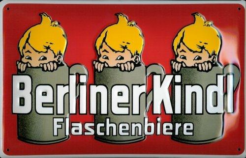 Buddel-Bini Versand Blechschild Nostalgieschild Berliner Kindl Flaschenbiere rot Bier Berlin Retro...