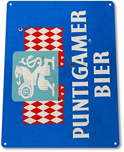 Blechschild 'Puntigamer Bier', Wandkunst, A152, Metall, 20,3 x 30,5 cm