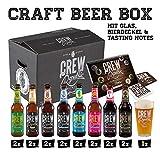 CREW Republic Craft Beer Geschenkbox, Biergeschenk inkl. Verkostungsglas und Tasting Notes (16 x...