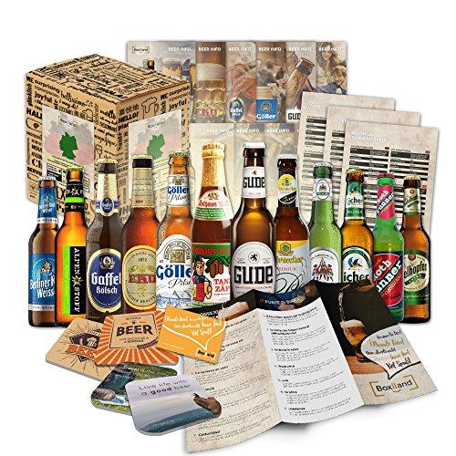 12 Bier Spezialitäten aus Deutschland (Die besten deutschen Biere) als Probierpaket zum Verschenken...