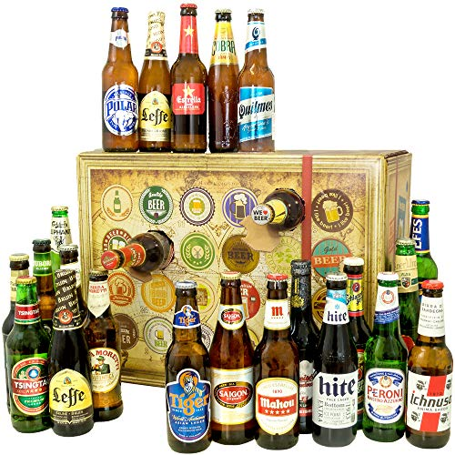 Bier-Adventskalender, 24 Biere aus aller Welt, inkl. Geschenkbox, MEHRWEG (24 x 0.33 l)