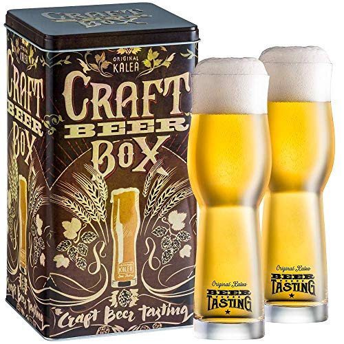 Kalea Beer Box | Metallbox mit 3D-Prägung | 4 X 0.33 L Bierspezialitäten | Inkl. 2...