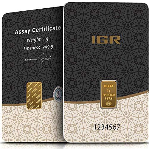 IGR Gold 1g Gramm Goldbarren 999.9 Geschenk Anlage Zertifiziert