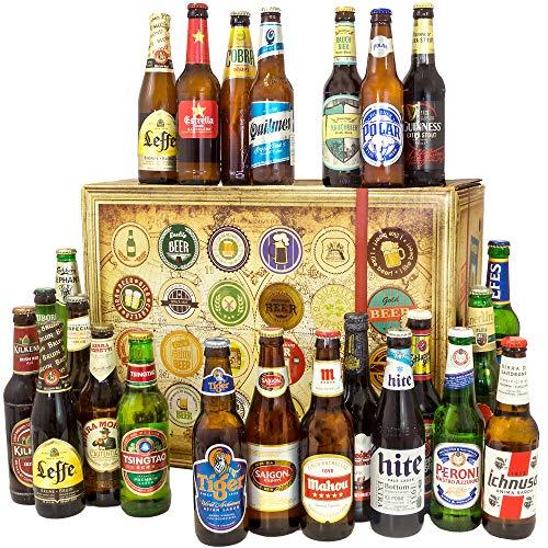 BIERE DER WELT Geschenk Box für Männer mit 24 Flaschen Bier + Geschenkkarten + mehr. Bier...