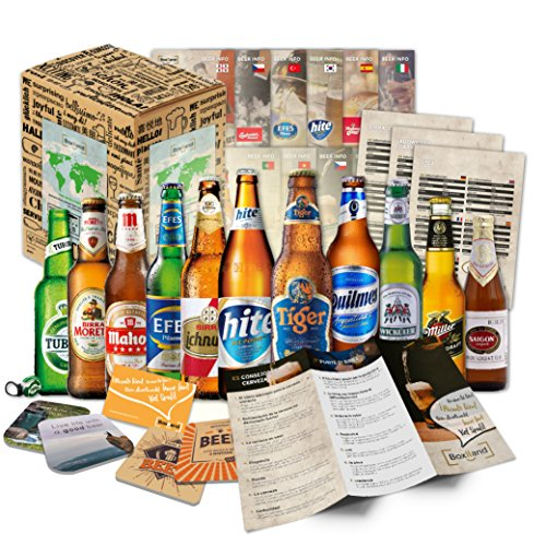 12 Biere der Welt mit Geschenk Karton Bier Info Tasting Anleitung Bierdeckel