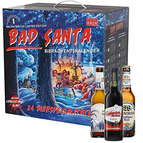 KALEA Bier Adventskalender Füllung 2020, Weihnachtskalender Bad Santa, Geschenke für Männer,...