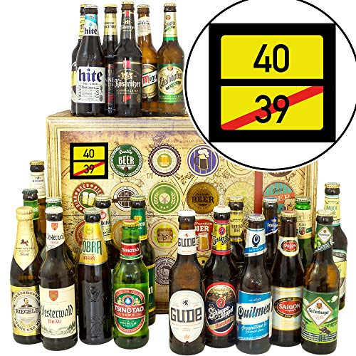 Ortsschild 40 ++ 24 Biere aus der Welt und D ++ 40. Geburtstag Geschenke/Bier Adventskalender