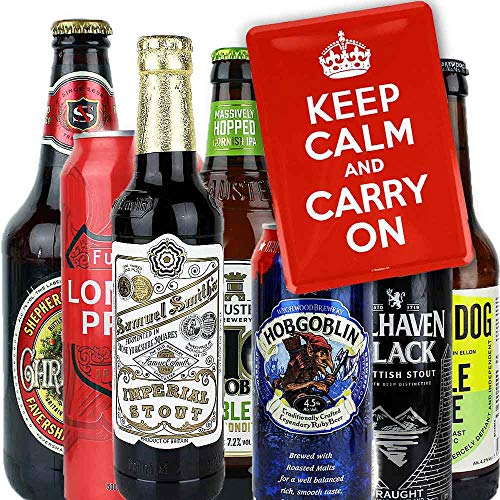 7er Bierset - KEP CALM AND CARRY ON - mit Blechpostkarte und Tastingtipps mit Bewertungshilfe -...