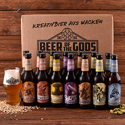 WACKEN BRAUEREI Craft Beer Box 14 x 0,33 l verschiedene Sorten + Bierglas BEER OF THE GODS |...