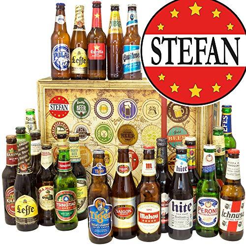 Stefan + 24 Biere aus aller Welt + Bier Box + Geschenke Stefan + Adventskalender Bier
