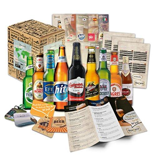 """Boxiland """"BIERE DER WELT"""" Geschenkidee für Männer inklusiv Bierdeckel + Geschenkkarton + Bier,..."""